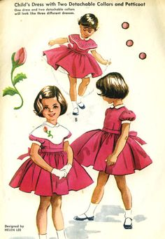 ©1957 Vintage 50s McCalls 2175 Helen Lee Toddler Girls Dress with Shaped Collar, Petticoat plus Transfer Sewing Pattern Size 2