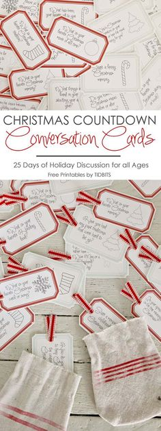 Countdown Conversation Cards Christmas Countdown Conversation Cards - 25 days of enjoyable Holiday discussion for all ages.Christmas Countdown Conversation Cards - 25 days of enjoyable Holiday discussion for all ages. 25 Days Of Christmas, Christmas Games, Christmas Countdown, Christmas Activities, Family Christmas, Christmas Traditions, Winter Christmas, Christmas Decorations, Christmas Ornaments
