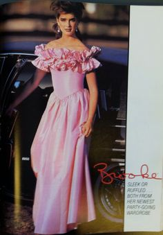 A page from a May 1984 McCall's catalog. Brooke Shields in a prom dress! 90s Prom Dresses, 80s Dress, 80s Prom, Party Dresses, Homecoming, Vintage Prom, Vintage Dresses, Vintage Clothing, 80s Fashion