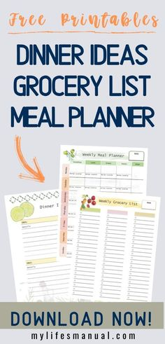 Free Weekly Meal Planner with a Grocery List, Instant Pot Recipes and a Simple Meal Planning PDF Guide Weekly Meal Plan Template, Menu Planning Printable, Printables, Meal Planning Board, Budget Meal Planning, Food Budget, Family Meal Planner, Free Meal Planner, Healthy Weekly Meal Plan