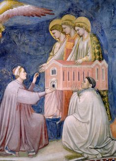 PADOVA Cappella degli Scrovegni - Giotto, Veneto, Italy. Detail from the fresco The last judgement, showing Scrovegni, who 'sponsored' the building of the chapel, handing over the chapel to Maria.