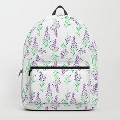 Fashionable lavender colored floral style bag for school or work. Lavender Color, Delphinium, Floral Style, School Bags, Fashion Backpack, Backpacks, Purple, Stuff To Buy, Shopping
