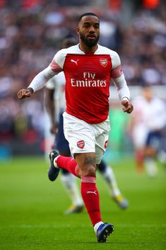 LONDON, ENGLAND - MARCH Alexandre Lacazette of Arsenal during the Premier League match between Tottenham Hotspur and Arsenal FC at Wembley Stadium on March 2019 in London, United Kingdom. (Photo by Robbie Jay Barratt - AMA/Getty Images) Arsenal Fc, Arsenal Football Club, Tottenham Hotspur, Soccer Guys, Premier League Matches, Old Trafford, European Football, Great Team, Olympic Games