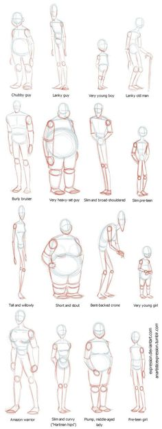 Anatomy Drawing Reference Body Shapes by Expression - Drawing Body Poses, Drawing Reference Poses, Anatomy Reference, Drawing Body Proportions, Human Body Drawing, Posture Drawing, Proportion Art, Couple Poses Drawing, Human Reference