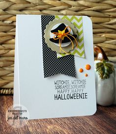 Card by Jen del Muro. Reverse Confetti stamp set: Cast a Spell. Confetti Cuts: Circles 'n Scallops, Cast a Spell, Oh My Stars and Tag Me. Halloween card.
