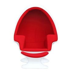 Fine Mod Imports Alpha Egg Chair and Ottoman-Color:Red,Style:Contemporary/Modern