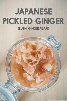 Pickled Ginger (Sushi Ginger/Gari) | Easy Japanese Recipes at JustOneCookbook.com Japanese Pickled Ginger Recipe, Japanese Ginger, Japanese Pickles, Ginger Preserve Recipe, Ginger Candy Recipe, Japanese Food Sushi, Japanese Cuisine, Traditional Japanese Food, Japanese Diet
