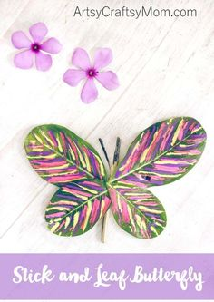 This Stick and Leaf Butterfly Nature Craft can be easily made with fresh leaves and twigs, and would make a great spring craft to bring the outdoors inside. #MulticulturalArtsandCrafts