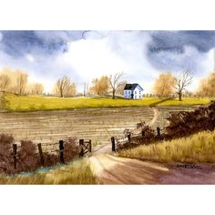 painting Watercolor  Landscape painting original painting Farmhouse country road fall trees art 5x7 on paper