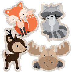 Woodland Creatures - Animal Shaped Decorations DIY Baby Shower or Birthday Party Essentials - Set of 20 Image 2 of 5 Idee Baby Shower, Baby Shower Registry, Shower Bebe, Baby Shower Gifts, Party Animals, Animal Party, Fox Party, Woodland Creatures, Woodland Animals