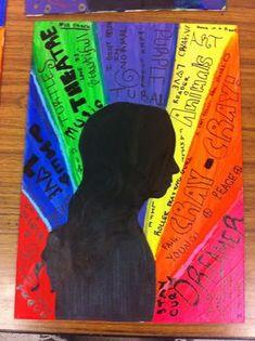 elementary art lesson self-portrait 4th 5th grade silhouette personal characteristics personality