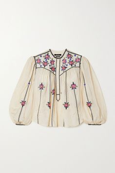 Isabel Marant's 'Caitlyn' blouse is intricately embroidered with dainty florals and contrasting topstitching for an authentic bohemian feel. Cut from tactile silk, it has romantic blouson sleeves and a gathered yoke that creates a lovely drape. Style yours with jeans and ankle boots. Fashion News, Fashion Beauty, Vintage Bohemian, Embroidered Silk, Isabel Marant, Menswear, Clothes, Tops, Florals