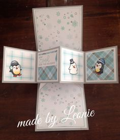 Pop-up card Lawn Fawn Snow cool~ perfectly plaid