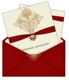 Maroon, cream and gold card, in a lovely letter style envelopoe. --- #Indian #Wedding #Card