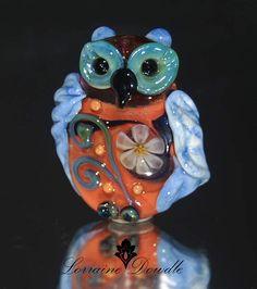 Decorative Lampwork Owl Focal :    SRA Lorraine Dowdle