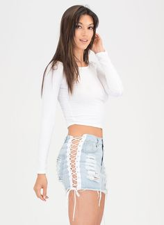 Lace Me Up Distressed Denim Skirt