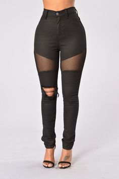 - Available in Black and White - High Waisted - 5-Pocket Design - Skinny Leg - Mesh Inserts - Distressed Detail on Knee
