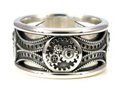 Engine Block Ring Industrial Steampunk Sterling Silver on Etsy