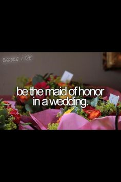 Bucket List - Want To Try: Be a maid of honor...My little sister's in 2009!