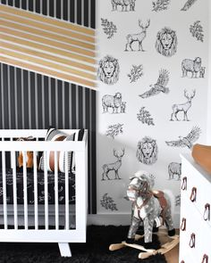 These wall decals from our shop are the perfect fit in this mod baby boy space from @littlehouseonalittleland! 🖤