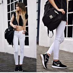 Claudia Michon - Primark Crop Top, New Era Bag, Mango White Jeans, Nike Shoes Run Rosh - Fitzpleasure