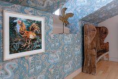 Compton Verney wallpaper by Mark Hearld - River Blue – St. Compton Verney, Fabric Wallpaper, Interior Inspiration, Folk Art, River Blue, Frame, Painting, Fabrics, Design