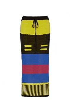 In bright hues, this knitted, calf length skirt is the perfect way to bridge Spring/Summer 2014. Crafted with bold bands of colour, creating a tribal feel, this fitted statement piece is finished with a drawstring waistband.