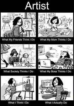 """All artists have a lot in common. Whether you're a comic artist or a painter - you still experience similar situations like lack of inspiration or constantly being asked """"Will you draw me? Cute Comics, A Comics, Funny Comics, Funny Cartoons, Funny Relatable Memes, Funny Quotes, Artist Problems, Art Jokes, You Draw"""