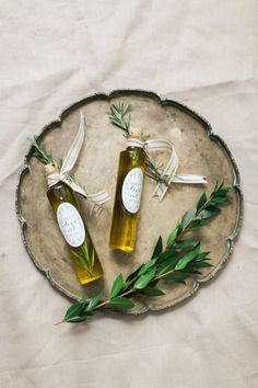 Pretty up your olive oil favors with Avery labels: http://www.stylemepretty.com/2015/05/11/olive-oil-favors-with-avery/ | Photography: Ruth Eileen - http://rutheileenphotography.com/