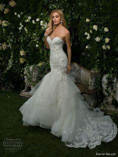 eddy k milano bridal 2017 sleeveless with strap v neck heavily embellished bodice elegant mermaid wedding dress illusion back chapel train (md232) zbv