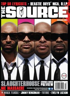 """The Slaughterhouse collective of Joe Budden, Joell Ortiz, Crooked I and Royce Da 5'9"""" cover this month's issue of The Source magazine."""