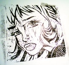 The Girl with the head ribbon (Lichtenstein) revisité en linogravure