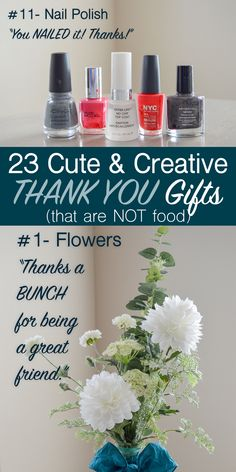 List of cute and creative non-food ways to say thank you. Thank you gift and card ideas that are not food like flowers, candle, necktie, etc. Small Thank You Gift, Thank You Presents, Thank You Notes, Small Gifts, Thank You Ideas, Coworker Thank You Gift, Gifts For Coworkers, Gifts For Friends, Thanks A Bunch