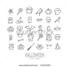Set of halloween icons drawing in flat style on white background. Halloween Symbols, Halloween Doodle, Halloween Icons, Halloween Halloween, Halloween Tattoo Flash, Cute Halloween Tattoos, Dragon Tattoo Back Piece, Dragon Sleeve Tattoos, Hand Poked Tattoo