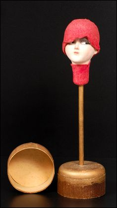 1920s Doll Head Hat Stand with Attached Trinket Box