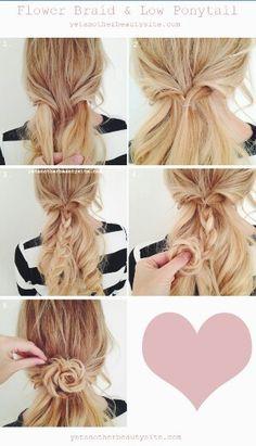 Flower ponytail. Love it!