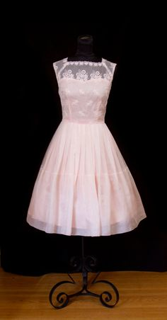 1950's Dress // Embroidered Pink Organdy Full by GarbOhVintage