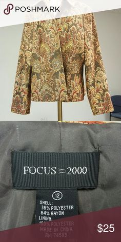 Focus 2000, Tapestry Jacket Excellent condition, tapestry print jacket, green and browns Focus 2000 Jackets & Coats Blazers