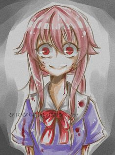 Yandere~ scary.. this is a good anime but a bit rated (so brutal) Ihope you guys would like it even though its creepy! SHOULD I PUT IT TO MATURE CONTENT?? art by me~ no stealing
