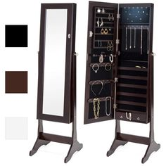 Best Choice Products Full Length Standing Mirror Lockable Jewelry Storage Organizer Cabinet Armoire w/ 6 Automated LED Interior Lights, 3 Angle Adjustments, Velvet Lining - Espresso Mirror Jewellery Cabinet, Jewelry Mirror, Jewellery Storage, Necklace Storage, Makeup Storage, Storage Organization, Storage Ideas, Food Storage, Luxury Interior