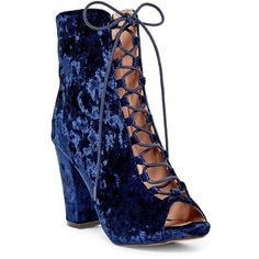Chase & Chloe Benjamin Lace-Up Open Toe Boot ($33) ❤ liked on Polyvore featuring shoes, boots, royal blue velvet, laced shoes, lace up boots, velvet boots, front lace up boots and royal blue shoes
