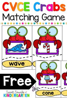 The school year is almost over, and it's time to start working on CVCE words and long vowels with my students. I love using themed centers during our reading and phonics time. These CVCE crab… Kindergarten Centers, Kindergarten Reading, Reading Activities, Kindergarten Classroom, Literacy Activities, Teaching Reading, Kindergarten Worksheets, Guided Reading, Classroom Decor