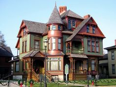 Victorian - Hume House   Built: 1887-1889  Architect: David S. Hopkins  Architectural Style: Queen Anne  Location: Muskegon, Michigan; USA, Taken by ozonablue at deviantart.