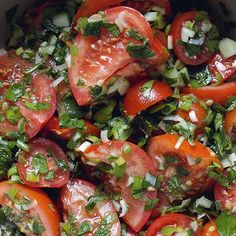 Tomato salad with spring onions and cucumber, from the cookbook 'Comptoir Libanais . Food L, Love Food, Food Porn, Cucumber Recipes, Salad Recipes, Vegan Recipes, Pork Brisket, Side Dishes For Bbq, Happy Foods