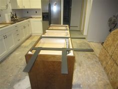 Countertop seating overhang before view installed on for Granite countertops support requirements
