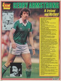 Gerry Armstrong of Northern Ireland in Football Icon, Uk Football, Retro Football, World Football, Football Shirts, Football Players, British Football, English Football League, 1982 World Cup