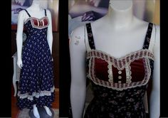 Vintage GUNNE SAX Long Navy Blue Calico Floral Sun Dress with Velvet Inset Prairie Dress Boho Style Great Condition Great For Spring by WestCoastVintageRSL, $110.00