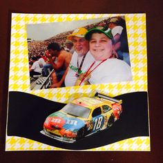 NASCAR Sprint cup race Dover DE, Dad and Bree; Page 5: This is an 8 by 8 scrapbook page featuring cars I printed offline and places with mounting tape.