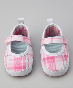 Take a look at this Rugged Bear Magenta Plaid Mary-Jane by Rugged Bear & Rainbow Kids on @zulily today!