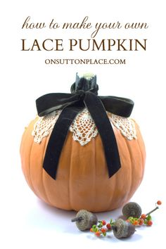 Super easy Mod Podge Lace Pumpkin that is so quick you won't believe it. Adds a classic, vintage touch to your fall decor! #ModPodge #Pumpkin